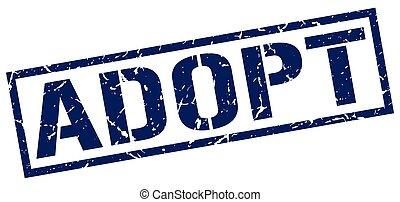 adopt blue grunge square vintage rubber stamp