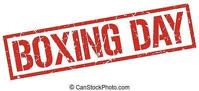 boxing day red grunge square vintage rubber stamp