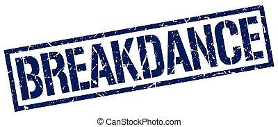breakdance blue grunge square vintage rubber stamp