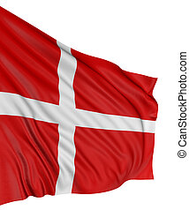 3D Danish flag with fabric surface texture White background...