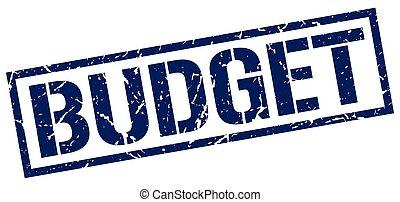 budget blue grunge square vintage rubber stamp
