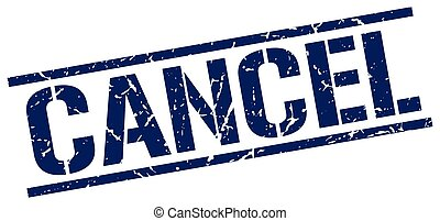 cancel blue grunge square vintage rubber stamp