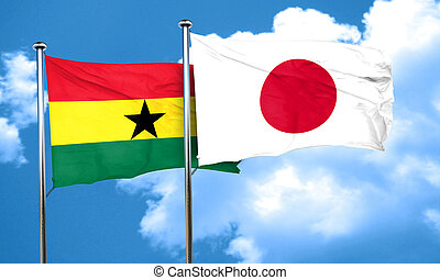 Ghana flag with Japan flag, 3D rendering