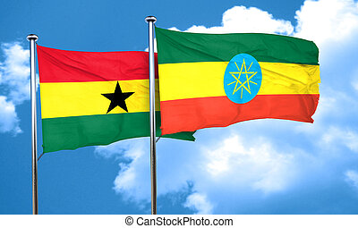 Ghana flag with Ethiopia flag, 3D rendering