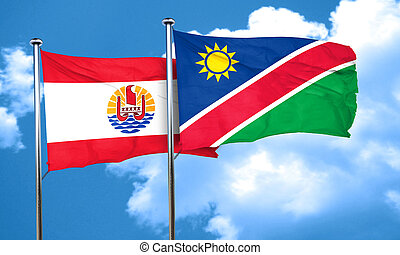 french polynesia flag with Namibia flag, 3D rendering