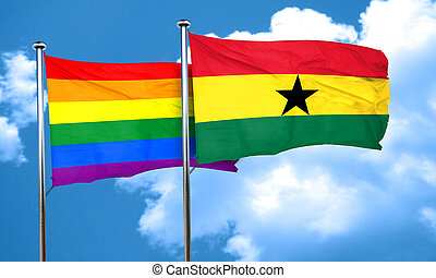 Gay pride flag with Ghana flag, 3D rendering