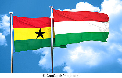 Ghana flag with Hungary flag, 3D rendering