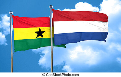 Ghana flag with Netherlands flag, 3D rendering