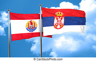 french polynesia flag with Serbia flag, 3D rendering