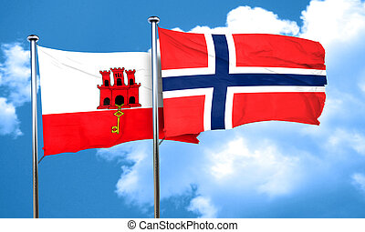 gibraltar flag with Norway flag, 3D rendering