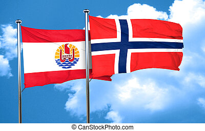 french polynesia flag with Norway flag, 3D rendering