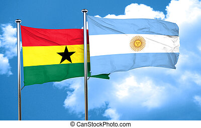 Ghana flag with Argentine flag, 3D rendering