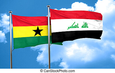 Ghana flag with Iraq flag, 3D rendering