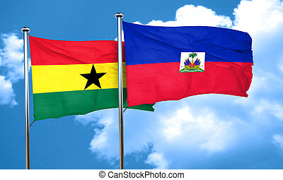 Ghana flag with Haiti flag, 3D rendering