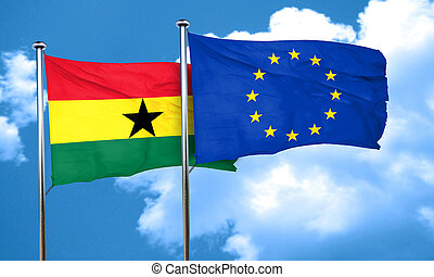 Ghana flag with european union flag, 3D rendering
