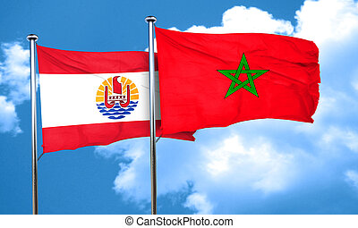 french polynesia flag with Morocco flag, 3D rendering