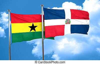Ghana flag with Dominican Republic flag, 3D rendering