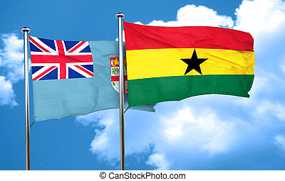 Fiji flag with Ghana flag, 3D rendering