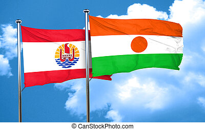 french polynesia flag with Niger flag, 3D rendering