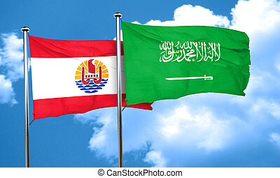 french polynesia flag with Saudi Arabia flag, 3D rendering