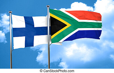 finland flag with South Africa flag, 3D rendering