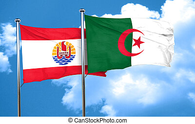 french polynesia flag with Algeria flag, 3D rendering