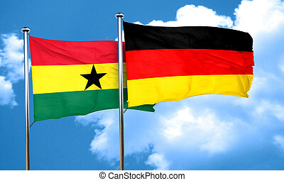 Ghana flag with Germany flag, 3D rendering
