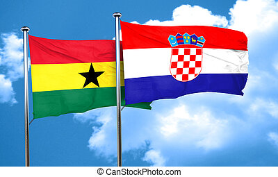 Ghana flag with Croatia flag, 3D rendering