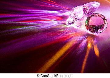 Rainbow diamonds - Light dispersed through fake diamonds...