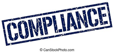 compliance blue grunge square vintage rubber stamp