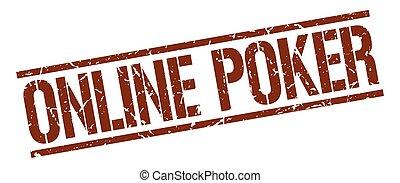 online poker brown grunge square vintage rubber stamp