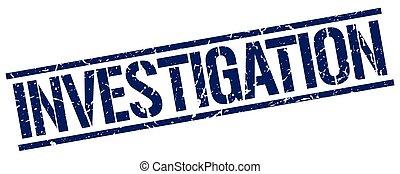 investigation blue grunge square vintage rubber stamp