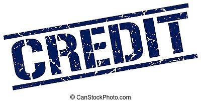 credit blue grunge square vintage rubber stamp