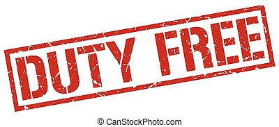 duty free red grunge square vintage rubber stamp