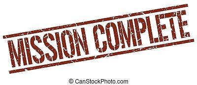 mission complete brown grunge square vintage rubber stamp