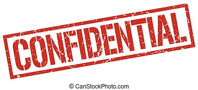 confidential red grunge square vintage rubber stamp