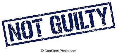 not guilty blue grunge square vintage rubber stamp