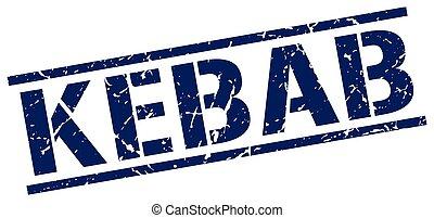 kebab blue grunge square vintage rubber stamp