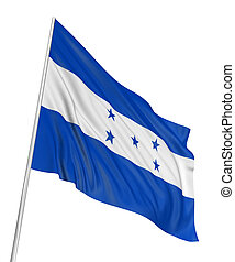 3D Flag of Honduras with fabric surface texture. White...