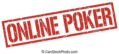 online poker red grunge square vintage rubber stamp