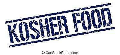 kosher food blue grunge square vintage rubber stamp