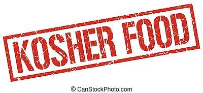 kosher food red grunge square vintage rubber stamp