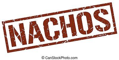 nachos brown grunge square vintage rubber stamp