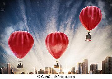 Boost for success 3D rendering - Hot air balloon flies high...
