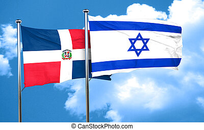 dominican republic flag with Israel flag, 3D rendering