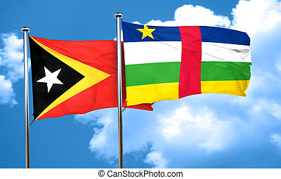 east timor flag with Central African Republic flag, 3D...