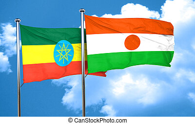 Ethiopia flag with Niger flag, 3D rendering