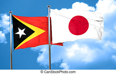east timor flag with Japan flag, 3D rendering