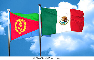 Eritrea flag with Mexico flag, 3D rendering