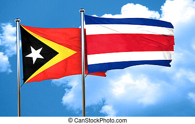 east timor flag with Costa Rica flag, 3D rendering